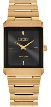 Citizen Eco-Drive Unisex Stiletto Gold-Tone Stainless Steel Bracelet Watch 25x35mm
