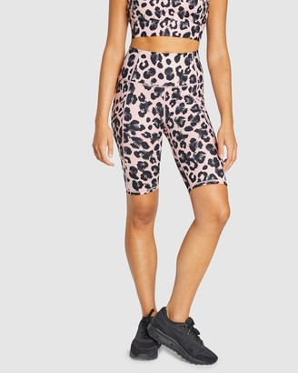Rockwear - Women's Pink 1/2 Tights - Snow Leopard Pocket Bike Shorts - Size One Size, 16 at The Iconic