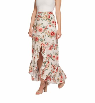 Dex Floral Ruffle Midi Skirt White