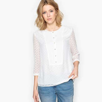 Anne Weyburn Dotted Swiss Blouse with Buttons and 3/4 Length Sleeves