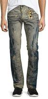 Robin's Jeans Splatter & Bleached Denim Jeans w/Studs, Blue