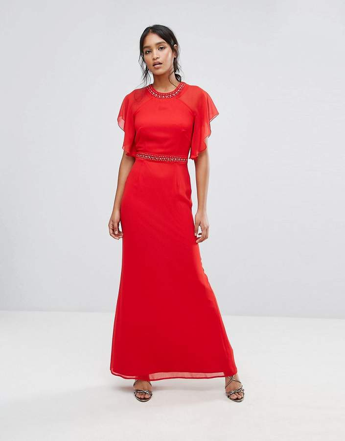Elise Ryan Embellished Trim Maxi Dress With Fluted Sleeve