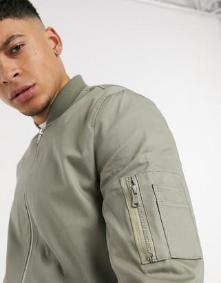 ASOS DESIGN MA1 bomber jacket in light khaki