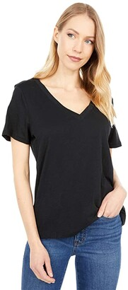 Madewell Whisper Cotton V-Neck Tee (True Black) Women's Clothing