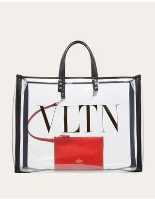 Valentino Garavani Small Vltn Print Transparent Tote Bag