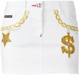Philipp Plein embroidered denim mini-skirt - women - Cotton/Spandex/Elastane/PVC - 28