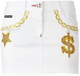 Philipp Plein embroidered denim mini-skirt