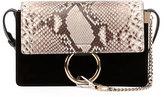 Chloé Faye Small Python & Suede Shoulder Bag, Black