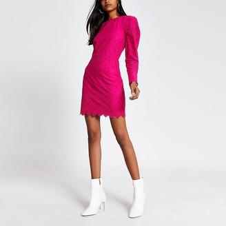 River Island Pink broderie puff sleeve mini dress