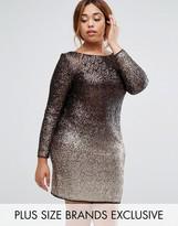 Coast Plus Long Sleeve Sequin Ombre Dress