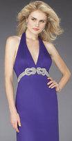 La Femme Elegant Long Dress with Embellished Waist 14320