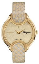 Salvatore Ferragamo Women's Diamond Snakeskin Strap Watch, 38Mm