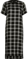 River Island Womens Black check short sleeve midi dress