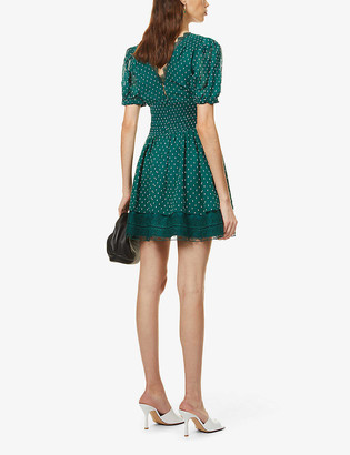 Self-Portrait Puff-sleeve knot-embroidered woven mini dress