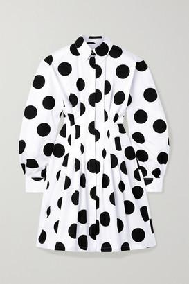 Carolina Herrera Pleated Polka-dot Cotton-twill Mini Shirt Dress - White