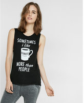 Express coffee crew neck muscle tank