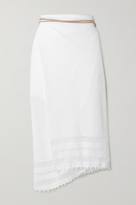 CARAVANA Net Sustain Suede-trimmed Cotton-gauze Pareo - White