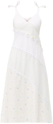 Solid & Striped Floral Embellished Bias Cut Cotton Dress - Womens - White