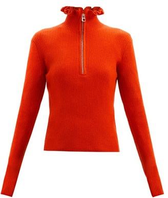 Chloé Ruffled-neckline Wool-blend Sweater - Red