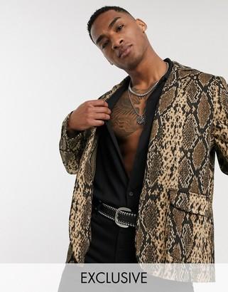 Reclaimed Vintage oversized casual snakeskin blazer