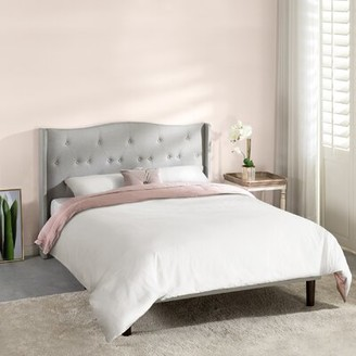 Amabel Upholstered Platform Bed, Modern Tufted Wingback Headboard, Real Wooden Slats And Legs, Light Grey, Full Mellow Size: Queen