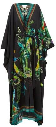Camilla River Cruise Silk-crepe Maxi Dress - Black Print