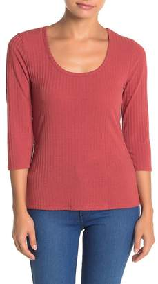 Susina Scoop Neck 3/4 Sleeve Ribbed T-Shirt (Regular & Petite)
