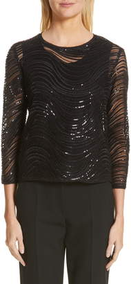 Emporio Armani Sequin Embellished Overlay Blouse