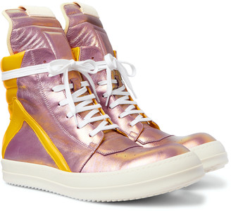 Rick Owens Geobasket Two-Tone Metallic Leather High-Top Sneakers
