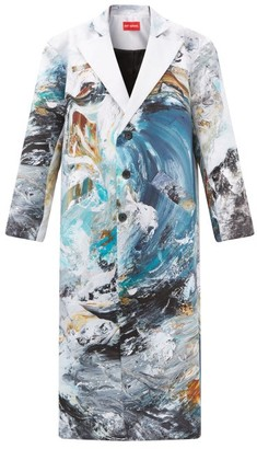 Art School - X Maggi Hambling Single-breasted Printed Silk Coat - Blue Multi