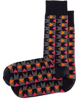 Jonathan Adler Bow Tie Graphic-Print Socks, Navy/Orange/Fuchsia