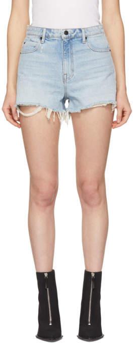 Alexander Wang Blue Denim Cut-Off Bite Shorts