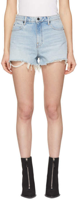 Alexander Wang Blue Denim Cut-Off Bite Shorts