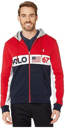 Polo Ralph Lauren Color Block Americana Double Knit Tech Hoodie (RL 2000 Red Multi) Men's Clothing