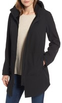 Kristen Blake Petite Women's Stand Collar Raincoat With Detachable Hood