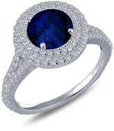 Lafonn Platinum Plated Sterling Silver Simulated Diamond & Lab-Grown Blue Sapphire Halo Ring