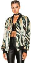 Baja East Print Satin Bomber Jacket in Abstract,Black,Green,Neutrals.
