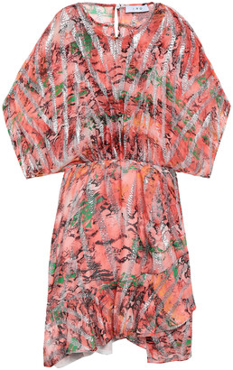 IRO Printed Metallic Fil Coupe Silk-blend Mini Dress