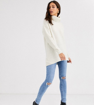 New Look Tall knited roll neck sweater in cream