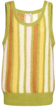 Miu Miu Striped Sleeveless Knitted Top
