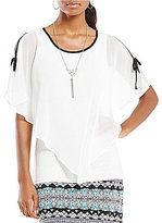 I.N. Studio Tie Cold-Shoulder Yoryu Top with Chain-Tassel Pendant Necklace