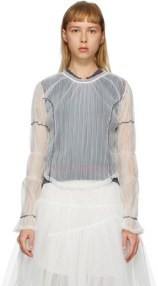 Renli Su White Sheer Mesh Puffy Sleeves Blouse
