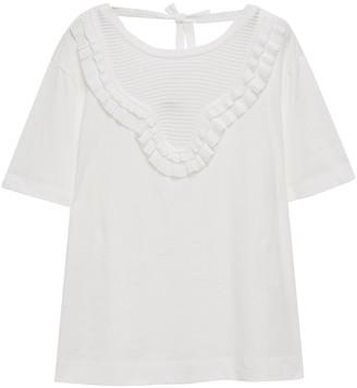 Sandro Cutout Ruffle-trimmed Georgette-paneled Cotton-jersey T-shirt