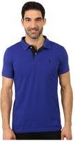 U.S. Polo Assn. Slim Fit Solid Pique Polo with Contrast Color Striped Under-Collar