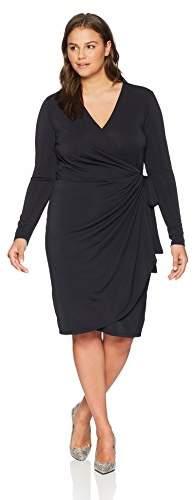 Amazon Brand Women\'s Plus Size Classic Long Sleeve Wrap Dress