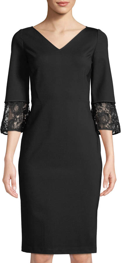 Lafayette 148 New York Lace-Trim 3/4-Sleeve Sheath Dress