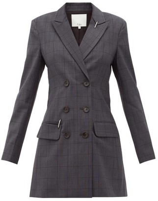 Tibi Windowpane-check Blazer Dress - Womens - Dark Grey