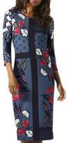 Jigsaw Nordic Floral Print Jersey Dress, Dark Petrol