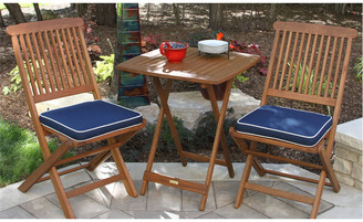 Outdoor Interiors 3Pc Square Bistro Set With Blue Cushions