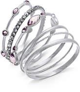 INC International Concepts I.N.C. Silver-Tone 6-Pc. Set Crystal and Purple Stone Bangle Bracelets, Created for Macy's